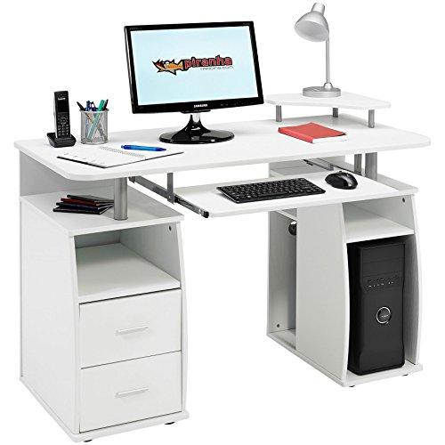 Piranha Großer Computer Schreibtisch mit 2 Schubladen und 4 Regalfächern in weißer Holzoptik PC 5s