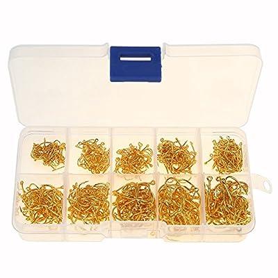 VGEBY 500Pcs 10 Sizes Fishing Hooks Set Steel Treble Hooks with Plastic box (Color : Gold)