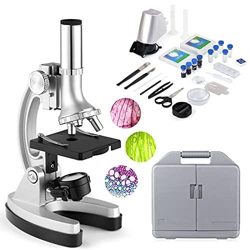 Microscopio para Niños Microscopios para Niños Principiantes con 70 + Accesorios 3 Objetivos 300X-600X-1200X, Estuche de Almacenamiento(Iluminación LED y Cuchillas, Maleta y Preparación Incluidos)