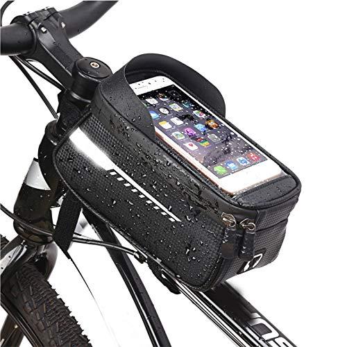 UYTTlhk Bolsa de Marco de Bicicleta, Tiras Reflectantes Impermeables Pantalla táctil Bolsa de Ciclismo, Alta Capacidad Frame de Tubo Delantero Superior MTB Estuche de teléfono de Carretera Accesorios