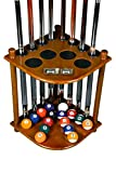 Cue Rack Only - 8 Pool Billiard Stick & Ball Floor Stand with Scorer Dark Oak Finish (Dark Oak)