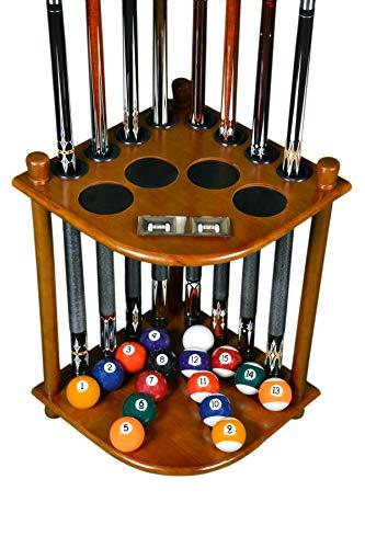 Cue Rack Only - 8 Pool Billiard Stick & Ball Floor Stand with Scorer Dark Oak Finish (Dark Oak)