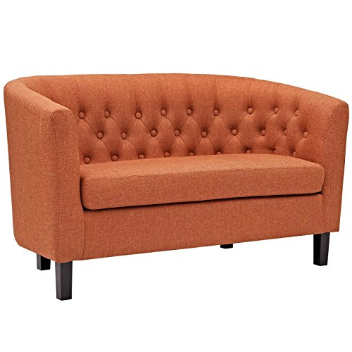 Modway Prospect Upholstered Contemporary Modern Loveseat In Orange