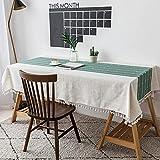 VIVILINEN Mantel Rectángulo Mantel de Lino de algodón, Borla de Costura Cuadrada Diseño Manteles rectangulares Manteles Lavables para Mesa de Comedor de Cocina (Verde, 140x220cm)
