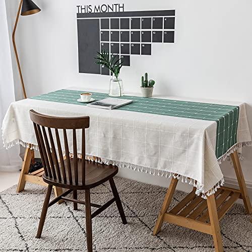 VIVILINEN Mantel Rectángulo Mantel de Lino de algodón, Borla de Costura Cuadrada Diseño Manteles rectangulares Manteles Lavables para Mesa de Comedor de Cocina (Verde, 140x220cm) ⭐