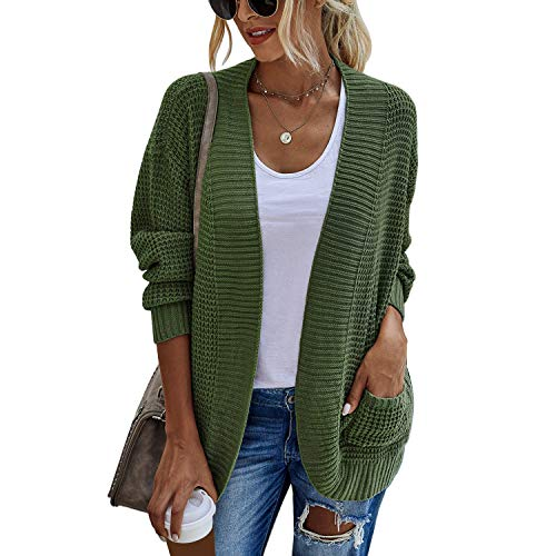 Bayda Otooo e Invierno Casual Mujer Cárdigan Suelto de Manga Larga Suéter de Punto con Bolsillos Chaquetas Rompevientos Verde XL