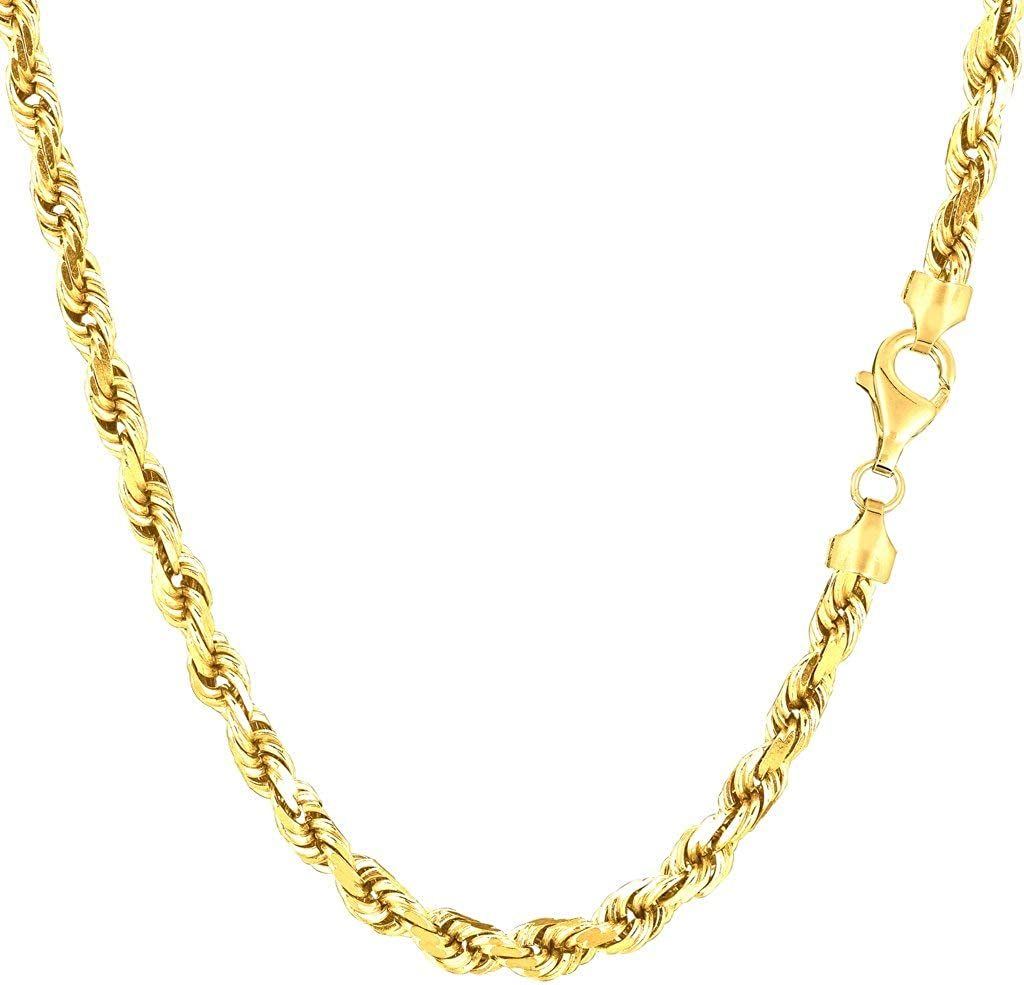 10K Japan Maker New SOLID Yellow Gold 1.25mm-5.00mm Diamond-Cut Ranking TOP7 Mens Thick Shiny