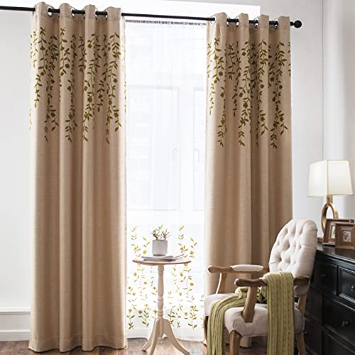 Melodieux Flower Embroidery Linen Blackout Wide Curtains for Patio Door Living Room Large Window Grommet Drape, Beige/Green, 100 by 96 Inch (1 Panel)