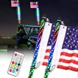 Beatto 2PCS 5FT(1.5M) RF Remote Controll RGB LED Whips Light with Dacning/Chasing Light LED Antenna Light for Off- Road Vehicle ATV UTV RZR Jeep Trucks Dunes.