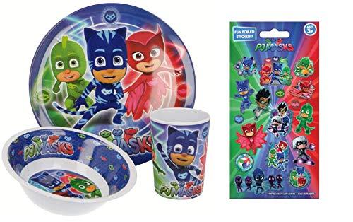 PJ Masks - Vajilla Infantil con Plato, Cuenco para Cereales y Vaso (melamina), diseño de héroes
