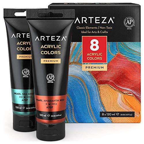 Arteza Acrylfarben Metallic, 8er Set lebendige Klassik Farben in 120 ml Tuben, reichhaltige Pigmente, nicht verblassende ungiftige Metallic Farben für Leinwand, Künstler, Anfänger & zum Basteln