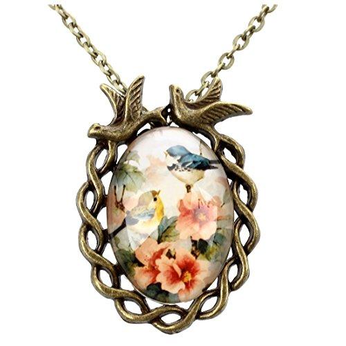TOOGOO(R) Femme Fille Fleur Oiseau impression Ellipse Pendentif homard fermoir Collier Bronze Ton