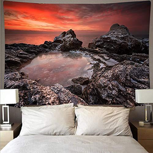 JXWR Vista al mar Paisaje de Arrecife Tapiz Arte Colgante de Pared Toalla de Playa decoración de Mandala Manta Fina Yoga 150x100 cm