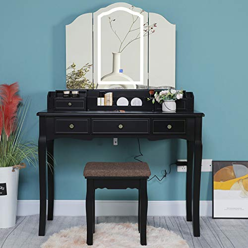 Iwell Large Vanity Table Set with Tri-Folding Lighted Mirror, Makeup Dressing Table with 5 Drawers & Padded Cushioned Vanity Stool, Gift for Girls, Women, Bedroom, Black