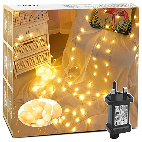 Christmas Lights, 100 LED 42.6ft/13M Christmas Tree Lights, Fairy Lights with 8 Modes Plug in, Waterproof Globe String Lights with Memory Function for Home/Party/Christmas Decorations, Warm White