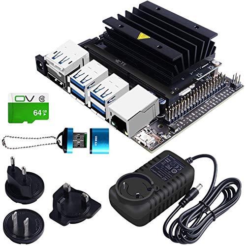 owootecc NVIDIA Jetson Nano 4GB Developer Kit Versione B01 con alimentazione 5V 4A EU/UK/US, Scheda da 64 GB TF per supporto allo sviluppo dell'IA con reti neurali multiple in parallelo