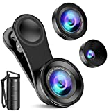 Criacr Phone Camera Lens (Upgraded Version), 3 in 1 Cell Phone Lens Kit for iPhone, Samsung, 180°Fisheye Lens, 0.6X Wide Angle Lens, 15X Macro Lens, for TIK Tok Video, Live Show, Video Chat, Vlog, etc