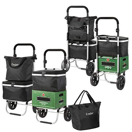 ShoppingCruiser 4-in-1-Einkaufswagen, Einkaufstrolley mit Umhängetasche, Fahrradtasche, Kühltasche, Kistenhalter - Faltbar - aus Aluminium