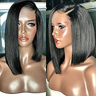 Cosswigs Layered Hair Cut Bob Wig for Women, Natural Black Lace Front Wig Straight Heat Resistant Synthetic Hair with Free Cap 14inches