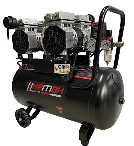 HEMAK HK-SK50/8 Silent Kompressor 50L 8Bar Flüster Druckluft 4 Zylinder 2 PS 1,5 kW Druckluft-Kompressor