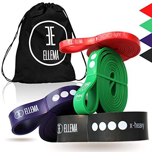 ELLEMA Resistance-Bands [ + online Video Training] + Gymbag (Im Set) - Widerstandsband aus 100 % Latex - Fitnessband für Anfänger und Profis - ideal für Calisthenics, Fitness, als Klimmzug-Band