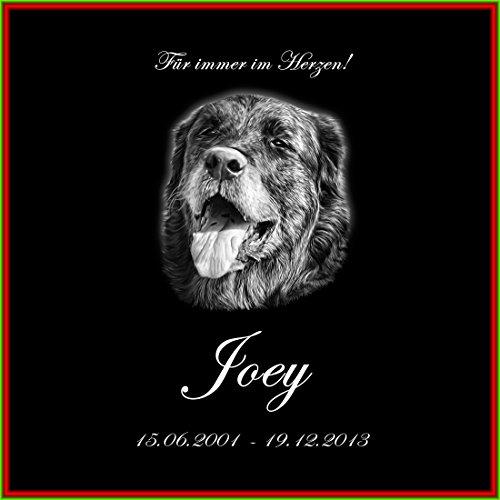 Lápida perro 40 x 40 x 1 cm – piedra natural negra incluye foto y texto grabado según sus deseos – piedra lápida animal para animales conmemorativos placa para perros con imagen placa conmemorativa