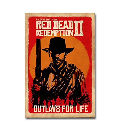 zxianc Red Dead Redemption 2 Juego Canvas Poster Wall Art Print Painting Wall Art Print on Canvas Poster Poster and Prints-50x75cmx1...