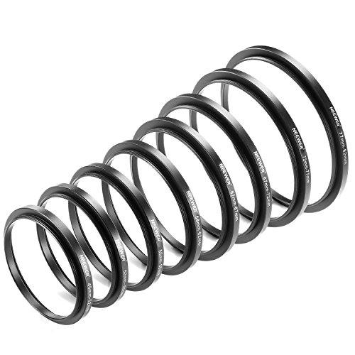 Neewer® 8 Stück Step-up-Adapter-Ring Set Aus hochwertigem eloxiertem Aluminium, beinhaltet: 49-52mm, 52-55mm, 55-58mm, 58-62mm, 62-67mm, 67-72mm, 72-77mm, 77-82mm- -Schwarz