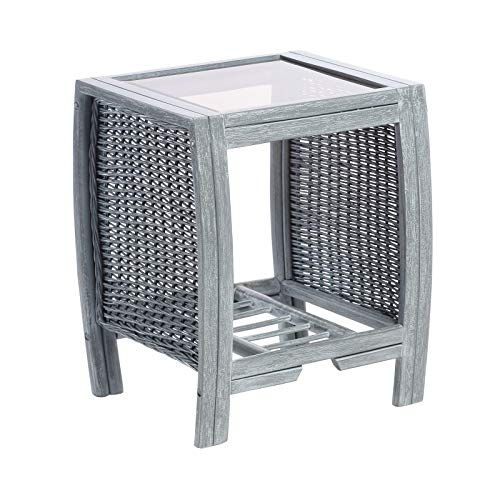 Desser Turin Grey Lamp Table with Storage Shelf – Glass Top Side Table with Wicker Rattan Cane Pole Frame Natural Wash Indoor Conservatory or Living Room Furniture - H57cm x W47cm x D39cm