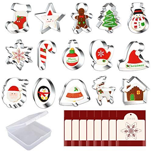 Juego de cortadores de galletas de Navidad, de acero inoxidable, 15 piezas, para calcetines, hombre de jengibre, árbol de Christma, muñeco de nieve y más, mousse Cake Fruit