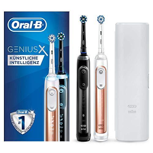 Oral-B Genius X 20900 Elektrische Zahnbürste, mit künstlicher Intelligenz, mit 2. Handstück, rosegold und schwarz