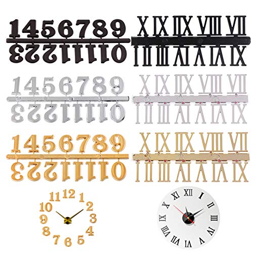 Clock Numerals Kit Roman Numerals Shape Arabic Number for DIY Digital Bell Repair Parts Replacement Gadget Bell Clock Numerals Clock Accessories in Black Silver Gold (6 Pieces)