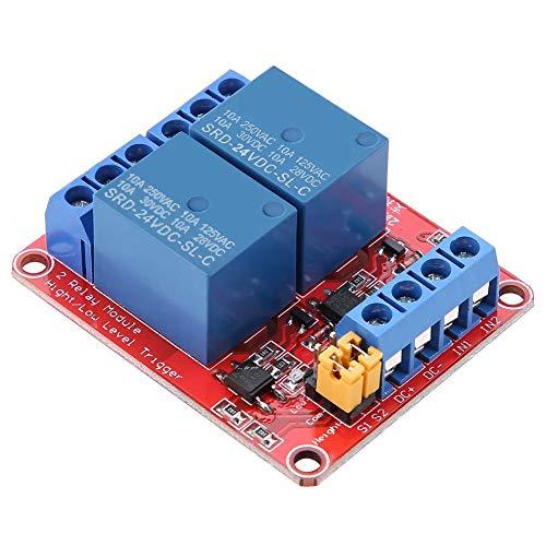 Módulo de Relé 2 Canales Módulo de Relé de 5/12/24 V Optoacoplador Aislado Módulo de Disparo de Alto y Bajo Nivel, 1PC(24V)