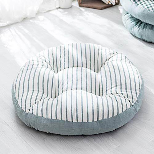 GE&YOBBY Japanese Round Linen Seat Cushion,Simple Thick Floor Cushion,Checked Stripe Large Tatami Pad for Outdoor Car Kids Indoor Office Patio Floor D 55cm in Diameter