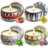 MAISITOO Velas Perfumadas Juego de 4 piezas Vela Aromática Regalo de Velas de Aromaterapia Cera de Soja Natural,Juegos de Velas para Cumpleaños,Aniversario, Día de la Madre,Navidad,Regalos Mujer