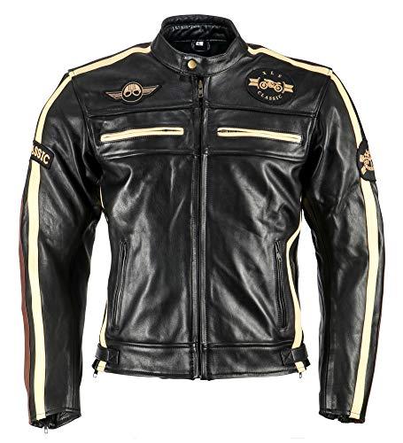 XLS Motorradjacke Classic One für Herren schwarz Retro Bikerjacke herausnehmbares Thermofutter Größe XXL