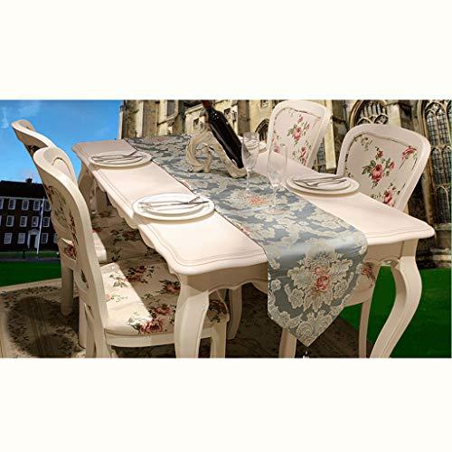 SHENGLI Mantel de mesa, de satén, jacquard, jardín, finamente spun, mesa de café, azul claro, hermoso, antideslizante (tamaño: 33 x 210 cm)