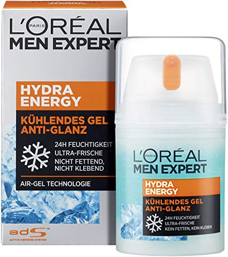 L'Oréal Men Expert Hydra Energy Anti-Glanz, nicht-fettende Feuchtigkeitspflege mit Matteffekt und kühlender Wirkung ist die ideale Gesichtscreme für müde Männerhaut (1 x 50ml)