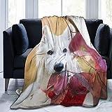 Perfect household goods Manta de forro polar de 127 x 152 cm, para perro, cachorro, pastor suizo, blanco, hojas de otoño en casa, manta de franela suave y cálida para cama/sofá/oficina/camping