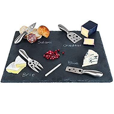 Large Slate Cheese Board and Stainless Steel Cutlery Set 12  x 16  – Includes 4 Knives plus a Soap Stone Chalk, Perfect Cheese Platter Slate Board, Wine and Cheese Serving Board Wisconsin Brie Swiss