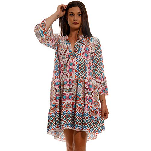 YC Fashion & Style Damen Tunika Kleid Sommer Allover Muster Boho Look Party-Kleid Freizeit Minikleid für Frauen mit Kurven HP219 Made in Italy (One Size, Model 35 / Retro Bunt)