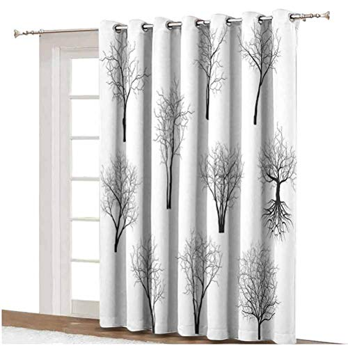 Apartment Decor Wide Blackout Curtains Spooky Horror Movie Themed Branches Forest Trees Nature Art Print Thermal Backing Sliding Glass Door Drape,Single Panel 80x108 inch,for Home Decor Black and Whi