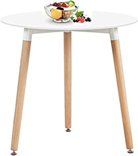 Nicemoods Round Table Kitchen Dining Table, Modern Style Round Leisure Coffee Table,White Dining Room Table for Kicthen Living Room,White