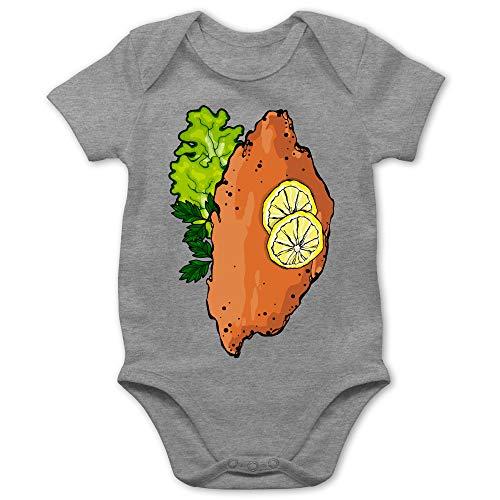 Shirtracer Karneval und Fasching Baby - Schnitzel Kostüm - 3/6 Monate - Grau meliert - Schnitzel - BZ10 - Baby Body Kurzarm für Jungen und Mädchen