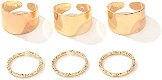Adjustable Wide Open Finger Band Ring Cuff Ring in Gold