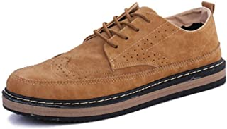 Fashion Men Brogue Shoes Carved Low Top Casual Soft Leather Shoes Waterproof Breathable Flat Driving Shoes Lace Up Men Oxf...