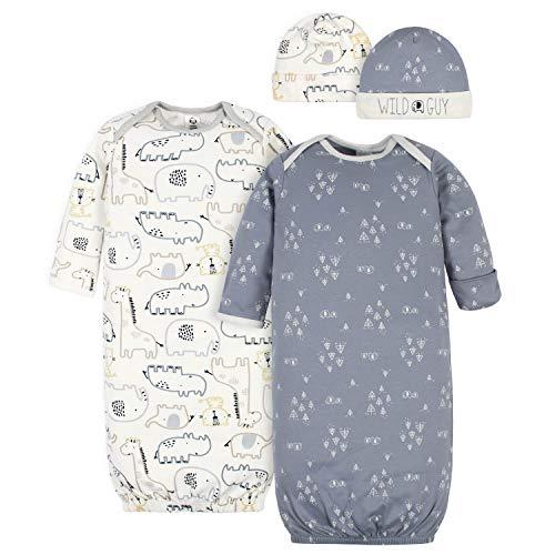 Gerber Baby Boys' 4-Piece Organic Gown and Cap Set, Wild Guy Grey, Newborn
