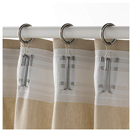 """Ikea Syrlig Curtain Ring with Clip and Hook Nickel Plated 10 Pack 103.057. 98 Size 1 """""""