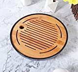 Hinomaru Collection Oriental Kung Fu Table Service Round Serving Tea Tray Bamboo Drip Pan Melamine Base Reservoir Tea Ceremony Accessories (Black)