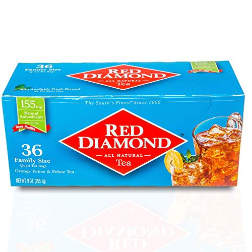 Red Diamond Iced Tea Bags | Family Sized Tea Bags | Delicious and Freshly Brewed Taste | Special Blend | 36 Count Quart-sized Bags (12 Pack)